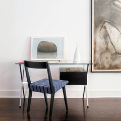 Jens Risom Side Chair Ebonized Maple Open Back Blue Albini Desk Knoll