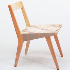 Jens Risom Side Chair Maple Flax Open Back Profile Knoll