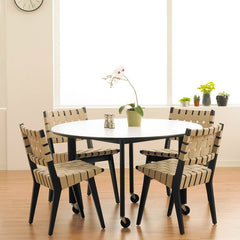Jens Risom Side Chairs Ebonized Walnut Flax D'Urso Table Knoll