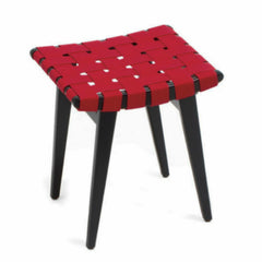 Jens Risom Stool Ebonized Maple Red Webbing Knoll
