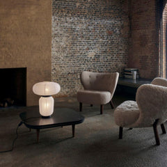 And Tradition JH18 Formakami Table Lamp by Jaime Hayon in room with Little Petra chairs and Space Copenhagen Fly Table