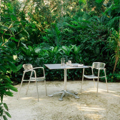 Knoll Pensi Cafe Table with Toledo Chairs in Garden