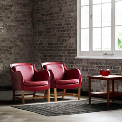 Kaare Klint Mix Chairs by Carl Hansen and Son KK43960 Red Leather in Room