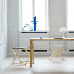 Kaare Klint Propeller Stools in room with Strand and Hvass Straight Dining Table Carl Hansen and Son