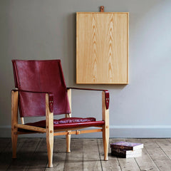 Kaare Klint Dark Red Leather Safari Chair in Room Carl Hansen and Son