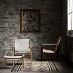 Canvas and Leather Safari Chairs in Room Kaare Klint for Carl Hansen and Son