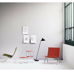Kaiser Idell Tilt Floor Lamp in Room with Poul Kjaerholm Chairs
