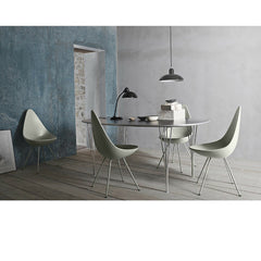 Kaiser Idell Pendant Black in room with Drop Chairs and Supercircular Table