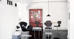 Kaiser Idell Pendant Black in room with Swan and Ant Chairs