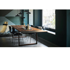 Kaiser Idell Pendants Black in room with Series 7 Chairs and Essay Table