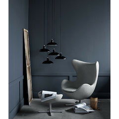 Kaiser Idell Pendants Black in room with Egg Chair