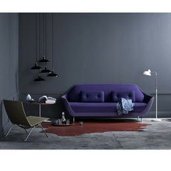 Kaiser Idell Pendants Black in room with Favn Sofa and Poul Kjaerholm Chair