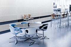 Kaiser Idell Pendants White in Headquarters Cantina with Rin Chairs and Ant Barstools