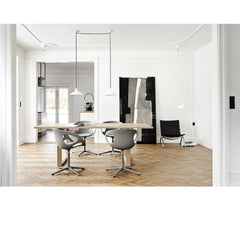 Kaiser Idell Pendant White in Dining Room with Rin Chairs