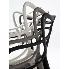 Kartell Masters Chairs by Philippe Starck White Grey Black Stacked Side View