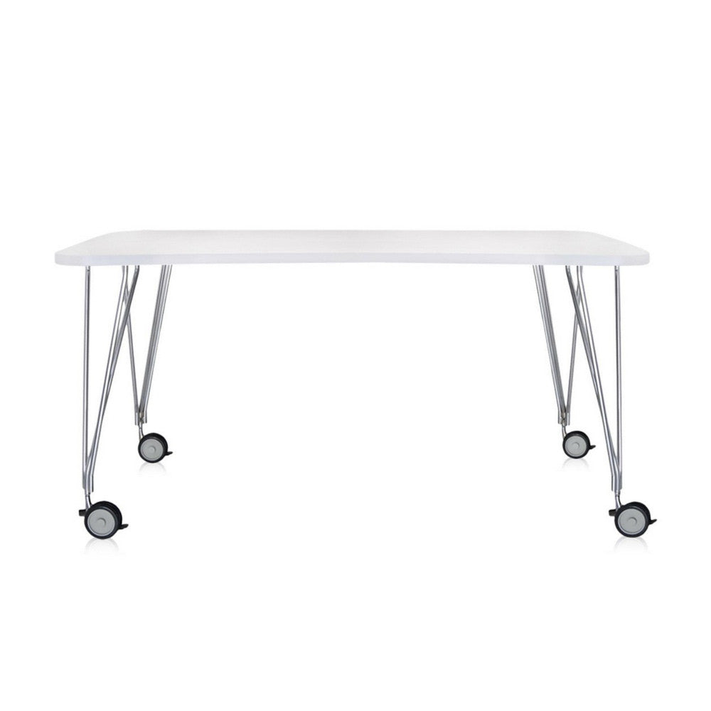Kartell Max Table White with Casters Ferruccio Laviani
