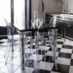 Kartell Victoria Ghost Chairs in Black and White Kitchen
