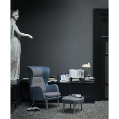Kaiser Idell Luxus Table Lamp Gloss Ivory in room with Rin Chair and Marble Statue