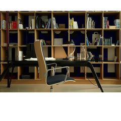 Kaiser Idell Luxus Table Lamp Matte Black in office with Oxford Chair and Todd Bracher Table Desk