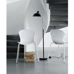 Kasper Salto NAP Milk White Chair and Armchair Front and Back View with Kaiser Idell Luxus Floor Lamp by Fritz Hansen