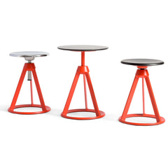 Knoll Barber Osgerby Piton Sides Table and Stools Coral Red