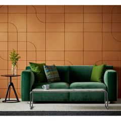 Knoll Barber Osgerby Settee Green Velvet in room with Laccio Coffee Table and Piton Side Table
