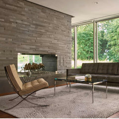 Knoll Barcelona Chair in Suede in living room with Florence Knoll Relaxed Sofa