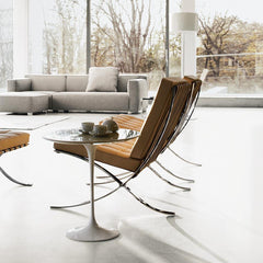 Knoll Barcelona Chairs in Room with Saarinen Side Table and Barber Osgerby Sofa