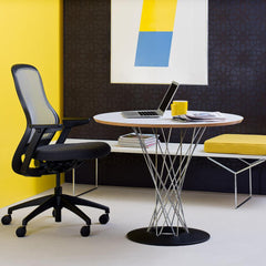 Knoll Bertoia Bench White with Yellow Cushion in Office with Noguchi Cyclone Table and Regeneration Chair
