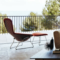 Knoll Bertoia Bird Chair and Ottoman Back View overlooking ocean
