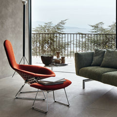 Knoll Bertoia Bird Chair and Ottoman with Persimmon Cover in Situ