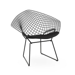 Bertoia Diamond Chair Black Frame Black Cushion