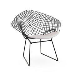 Bertoia Diamond Chair Black Frame White Cushion