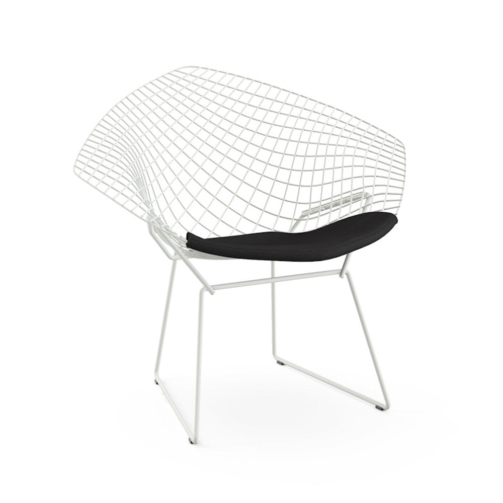 Bertoia Diamond Chair White Frame Black Cushion