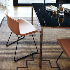Bertoia Leather Side Chair in Natural Leather and Black Frame with Florence Knoll Black Marble Dining Table by Knoll