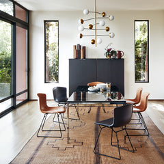 Bertoia Leather Side Chairs with Florence Knoll Dining Table by Knoll