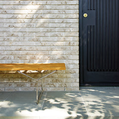 Knoll Bertoia Teak Outdoor Bench by Door