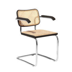Knoll Breuer Cesca Armchair with Ebonized Beech Frame, Caned Seat and Back
