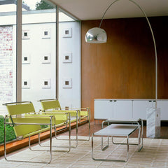 Knoll Breuer Laccio Side and Coffee Table in room with Wassily Chairs
