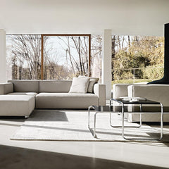 Knoll Breuer Laccio Coffee and Side Table in living room with Barber Osgerby Sofas