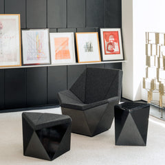 David Adjaye Black Washington Prism Collection in Room with Bertoia Sculpture and Artwork