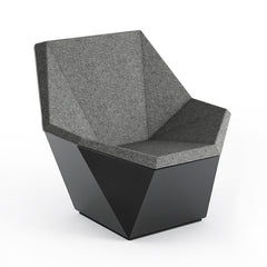 Knoll David Adjaye Washington Prism Chair Black Gloss Shell with Flannel Melange Upholstery