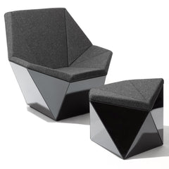 Knoll David Adjaye Washington Prism Chair and Ottoman Black Gloss Shell with Grey Upholstery