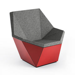 Knoll David Adjaye Washington Prism Chair Red Gloss Shell with Flannel Melange Upholstery