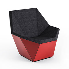 Knoll David Adjaye Washington Prism Chair Red Gloss Shell with Onyx Melange Upholstery