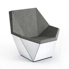 Knoll David Adjaye Washington Prism Chair White Gloss Shell with Flannel Melange Upholstery