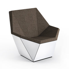 Knoll David Adjaye Washington Prism Chair White Gloss Shell with Molasses Melange Upholstery