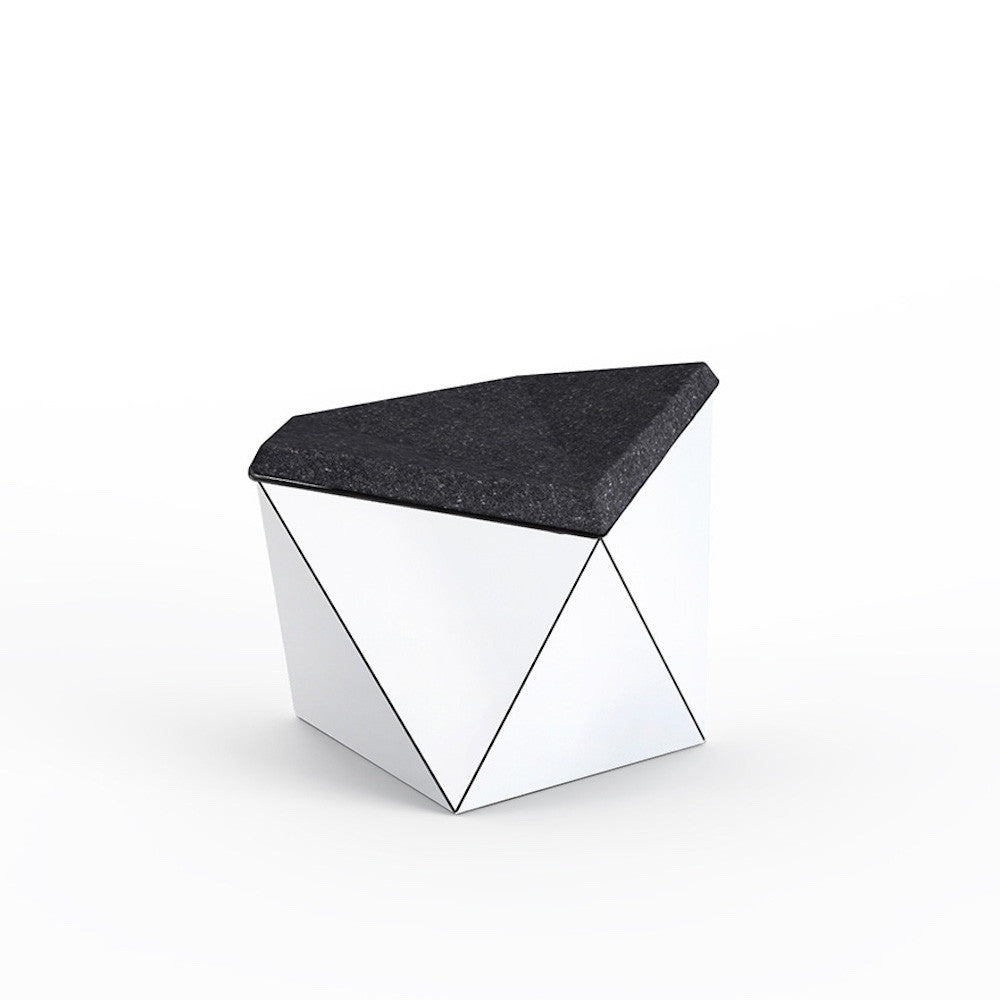 Knoll David Adjaye Washington Prism Ottoman White Gloss Shell with Onyx Melange Upholstery