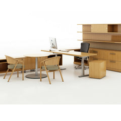 Knoll Life Chair in Light Wood Office with Shelton Mindel Side Chairs