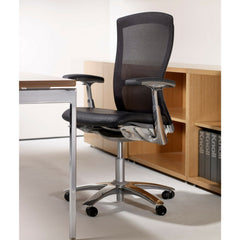 Knoll Life Chair with Leather Seat Topper Black Mesh Back in Office